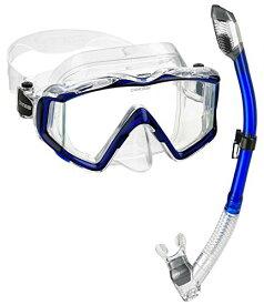 シュノーケリング マリンスポーツ 【送料無料】Cressi Panoramic Wide View Mask Dry Snorkel Set, Blueシュノーケリング マリンスポーツ
