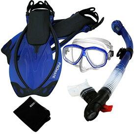 シュノーケリング マリンスポーツ 【送料無料】285890-t.Blue-SM, Snorkeling Purge Mask Dry Snorkel Fins Mesh Bag Setシュノーケリング マリンスポーツ
