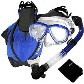 シュノーケリング マリンスポーツ SCS0011-Blue-S/M 【送料無料】Promate Snorkel Set w/Fins Snorkel Mask Mesh Bag, Blue, SMシュノーケリング マリンスポーツ SCS0011-Blue-S/M