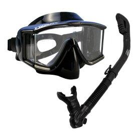 シュノーケリング マリンスポーツ 【送料無料】Snorkeling Scuba Dive Dry Snorkel Side-View Purge Mask Diving Gear, AllBlackシュノーケリング マリンスポーツ