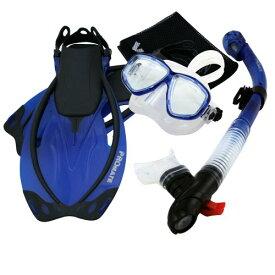シュノーケリング マリンスポーツ 【送料無料】Promate Snorkeling Mask Dry Snorkel Fins Mesh Gear Bag Set 7590, t.Blue, MLXLシュノーケリング マリンスポーツ
