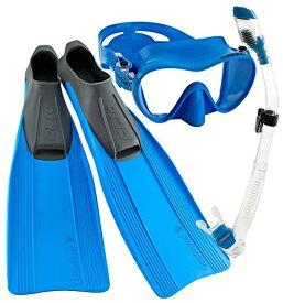 シュノーケリング マリンスポーツ CRSCMFSS_BL-8.5-9.5 【送料無料】Cressi Clio Full Foot Fin Frameless Mask Dry Snorkel Set with Carry Bag, Blue, Size 8.5/9.5-Size 43/44シュノーケリング マリンスポーツ CRSCMFSS_BL-8.5-9.5