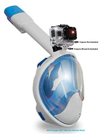 シュノーケリング マリンスポーツ 【送料無料】Voyager H2O 180° Latest Generation Full Rounded Face Panoramic Snorkel Mask,Camera Mount, Anti Fog, Anti Gag, Choose from 7 Unique Colors (Blue, L,XL)シュノーケリング マリンスポーツ