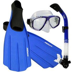 シュノーケリング マリンスポーツ 【送料無料】Promate Snorkeling Full Foot Fins Mask Dry Snorkel Gear Set, Blue, 11-13 Mens, 12-14 WMNSシュノーケリング マリンスポーツ