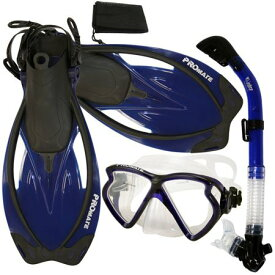 シュノーケリング マリンスポーツ 【送料無料】Promate Snorkeling Matrix Mask Dry Snorkel Fins Mesh Bag Set, Blue, S/Mシュノーケリング マリンスポーツ