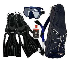 シュノーケリング マリンスポーツ 【送料無料】Promate Snorkeling Scuba Dive Frameless Mask Fins Dry Snorkel Gear Bag Set, Blue, S/M(5-8)シュノーケリング マリンスポーツ