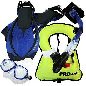 シュノーケリング マリンスポーツ 【送料無料】Promate 759001-Blue-MLXL Snorkeling Vest Mask Snorkel Fins Combo Setシュノーケリング マリンスポーツ