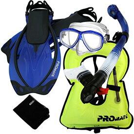 シュノーケリング マリンスポーツ 【送料無料】859001-t.Blue-SMSnorkeling Vest PURGE Mask Dry Snorkel Fins Mesh Bag Setシュノーケリング マリンスポーツ
