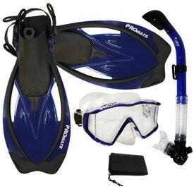 シュノーケリング マリンスポーツ 【送料無料】Promate Snorkeling Panoramic Mask Dry Snorkel Scuba Dive Fins Set, Blue, ML/XLシュノーケリング マリンスポーツ