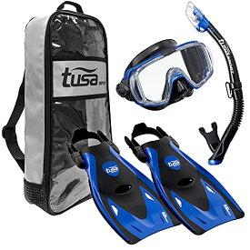 シュノーケリング マリンスポーツ UP-3521QB-MB-L 【送料無料】TUSA Sport Adult Black Series Visio Tri-Ex Mask, Dry Snorkel, and Fins Travel Set, Black/Metallic Blue, Largeシュノーケリング マリンスポーツ UP-3521QB-MB-L