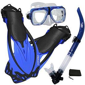 シュノーケリング マリンスポーツ 【送料無料】Promate Snorkeling Scuba Dive Snorkel Mask Fins Gear Set, Blue, ML/XLシュノーケリング マリンスポーツ