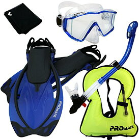 シュノーケリング マリンスポーツ 【送料無料】999001-Blue-ML/XL, Snorkeling Vest Scuba Dive Panoramic Purge Mask Dry Snorkel Fins Gear Setシュノーケリング マリンスポーツ