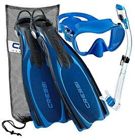 シュノーケリング マリンスポーツ CRS-REACTION-MFS-BL-MD 【送料無料】Cressi Reaction EBS Adjustable Mask Fin Dry Snorkel Scuba Gear Set, Blue, Medium/Largeシュノーケリング マリンスポーツ CRS-REACTION-MFS-BL-MD