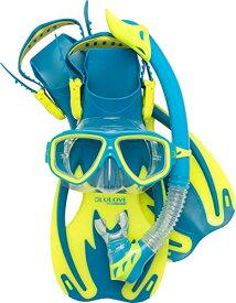 シュノーケリング マリンスポーツ USK060204B 【送料無料】Cressi Rocks Kids Set, cool blue, L/XLシュノーケリング マリンスポーツ USK060204B