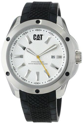 キャタピラー タフネス 腕時計 メンズ 頑丈 YQ14121222 CAT WATCHES Men's YQ14121222 Stream Date White Analog Dial with Black Rubber Strap Watchキャタピラー タフネス 腕時計 メンズ 頑丈 YQ14121222