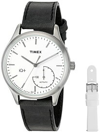 タイメックス 腕時計 レディース TWG013700 Timex Women's TWG013700 IQ+ Move Activity Tracker Black Leather Strap Smart Watch Set With Extra White Silicone Strapタイメックス 腕時計 レディース TWG013700