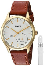タイメックス 腕時計 レディース TWG013600 Timex Women's TWG013600 IQ+ Move Activity Tracker Brown Leather Strap Smart Watch Set With Extra White Silicone Strapタイメックス 腕時計 レディース TWG013600