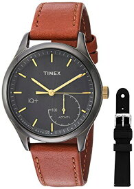 タイメックス 腕時計 レディース TWG013800 Timex Women's TWG013800 IQ+ Move Activity Tracker Brown Leather Strap Smart Watch Set With Extra Black Silicone Strapタイメックス 腕時計 レディース TWG013800