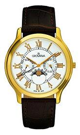 グロバナ スイスウォッチ 腕時計 メンズ 1025-1513 【送料無料】Grovana Men's 1025-1513 Moonphase Analog Display Swiss Quartz Brown Watchグロバナ スイスウォッチ 腕時計 メンズ 1025-1513