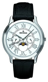 グロバナ スイスウォッチ 腕時計 メンズ 1025-1533 【送料無料】Grovana Men's 'Moonphase' Swiss Quartz Stainless Steel and Leather Casual Watch, Color:Black (Model: 1025-1533)グロバナ スイスウォッチ 腕時計 メンズ 1025-1533