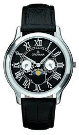 グロバナ スイスウォッチ 腕時計 メンズ 1025-1537 【送料無料】Grovana Men's 1025-1537 Moonphase Analog Display Swiss Quartz Black Watchグロバナ スイスウォッチ 腕時計 メンズ 1025-1537