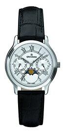 グロバナ スイスウォッチ 腕時計 レディース 3025-1533 【送料無料】Grovana Unisex 3025-1533 Moonphase Analog Display Swiss Quartz Black Watchグロバナ スイスウォッチ 腕時計 レディース 3025-1533
