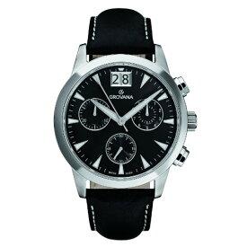 グロバナ スイスウォッチ 腕時計 メンズ 1722-9537 【送料無料】Grovana Men's 1722-9537 Traditional Analog Display Swiss Quartz Black Watchグロバナ スイスウォッチ 腕時計 メンズ 1722-9537