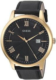 ゲス GUESS 腕時計 メンズ U0972G2 GUESS Oversized Classic Black Genuine Leather Watch with Date. Color: Black/Gold-Tone (Model: U0972G2)ゲス GUESS 腕時計 メンズ U0972G2