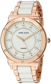 アンクライン 腕時計 レディース AK/2902WTRG 【送料無料】Anne Klein Women's AK/2902WTRG Diamond-Accented Rose Gold-Tone and White Ceramic Bracelet Watchアンクライン 腕時計 レディース AK/2902WTRG