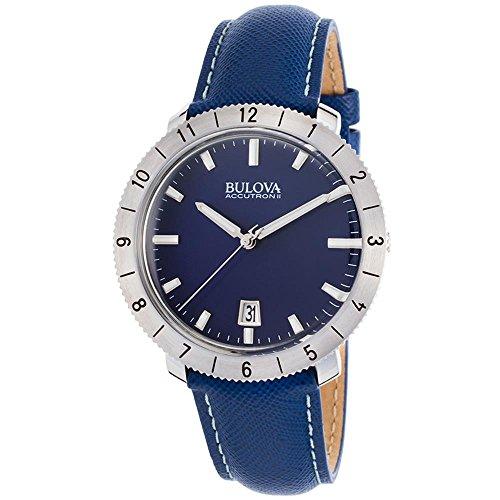 ブローバ 腕時計 メンズ 96B204 Bulova Accutron II Moonview Blue Leather and Dial Watchブローバ 腕時計 メンズ 96B204