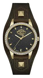 ブローバ 腕時計 レディース 77L105 【送料無料】Harley-Davidson Women's Crystal Embellished Shaped Cuff Watch, Brown/Gold 77L105ブローバ 腕時計 レディース 77L105