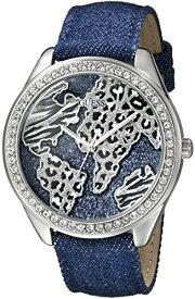 ゲス GUESS 腕時計 レディース U0504L1 GUESS Women's U0504L1 Iconic Blue Denim Silver-Tone Watch with Wold Mapゲス GUESS 腕時計 レディース U0504L1