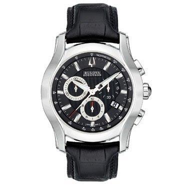ブローバ 腕時計 メンズ 63B139 Accutron Stratford Black Dial Chronograph Black Leather Mens Watch 63B139ブローバ 腕時計 メンズ 63B139