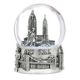 スノーグローブ 雪 置物 インテリア 海外モデル WG130 【送料無料】Silver New York City Snow Globe 4.5 Inch Tall, NYC Snow Globes Collection (80mm Glass Globe)スノーグローブ 雪 置物 インテリア 海外モデル WG130