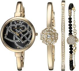 アンクライン 腕時計 レディース AK/3080GBST 【送料無料】Anne Klein Women's AK/3080GBST Swarovski Crystal Accented Gold-Tone Bangle Watch and Bracelet Setアンクライン 腕時計 レディース AK/3080GBST