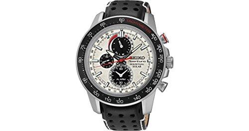 セイコー 腕時計 メンズ Seiko Sportura White Dial SS Leather Chrono Solar Quartz Men's Watch SSC359 by Seiko Watchesセイコー 腕時計 メンズ