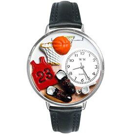 腕時計 気まぐれなかわいい プレゼント クリスマス ユニセックス 【送料無料】Basketball Black Leather and Silvertone Watch #WG-U0820009腕時計 気まぐれなかわいい プレゼント クリスマス ユニセックス