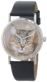 5c568e06f8 気まぐれな腕時計 かわいい プレゼント クリスマス ユニセックス R0120053 Whimsical Watches Kids' R0120053  Classic Pixie Bob Cat Black Leather And Silvertone ...