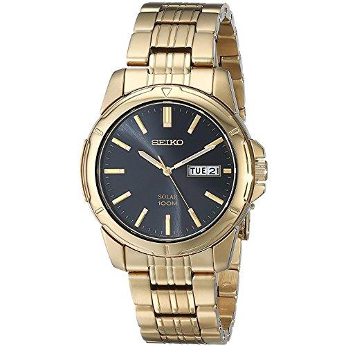 セイコー 腕時計 メンズ SNE100 Mens Watch Seiko SNE100 Gold Tone Stainless Steel Solar Quartz Link Bracelet Blセイコー 腕時計 メンズ SNE100