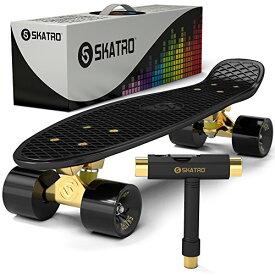 スタンダードスケートボード スケボー 海外モデル 直輸入 black-tiger 【送料無料】Skatro - Mini Cruiser Skateboard. 22x6inch Retro Style Plastic Board Comes Completeスタンダードスケートボード スケボー 海外モデル 直輸入 black-tiger