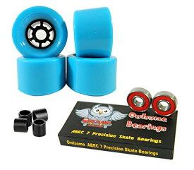 ウィール タイヤ スケボー スケートボード 海外モデル 【送料無料】83mm Wheels Longboard Flywheels + Owlsome ABEC 7 Precision Bearings (Baby Blue)ウィール タイヤ スケボー スケートボード 海外モデル