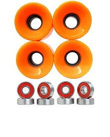 ウィール タイヤ スケボー スケートボード 海外モデル 【送料無料】Turbo 76mm Longboard Wheels with Bearings Set (Orange)ウィール タイヤ スケボー スケートボード 海外モデル