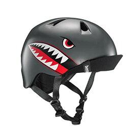 ヘルメット スケボー スケートボード 海外モデル 直輸入 VJBSGFVXSS BERN - Kid's Nino Helmet, Satin Grey Flying Tiger w/Flip Visor, XS/Sヘルメット スケボー スケートボード 海外モデル 直輸入 VJBSGFVXSS