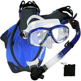 シュノーケリング マリンスポーツ 【送料無料】Promate 275680 Snorkeling Scuba Dive Mask Fins Snorkel Set, Blue, SMシュノーケリング マリンスポーツ
