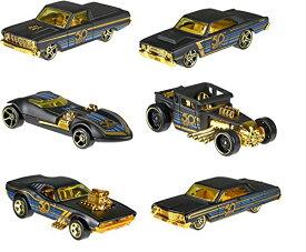 ホットウィール マテル ミニカー ホットウイール 【送料無料】New 1:64 Hot Wheels 50th Anniversary Black & Gold Collection - Bone Shaker, Twin Mill, Rodger Dodger, Dodge Dart, Impala & Ford Ranchero Setホットウィール マテル ミニカー ホットウイール