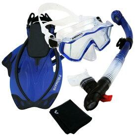 シュノーケリング マリンスポーツ 【送料無料】Promate 9990, Trans. Blue, ML/XL, Snorkeling Scuba Dive Panoramic Purge Mask Dry Snorkel Fins Gear Setシュノーケリング マリンスポーツ