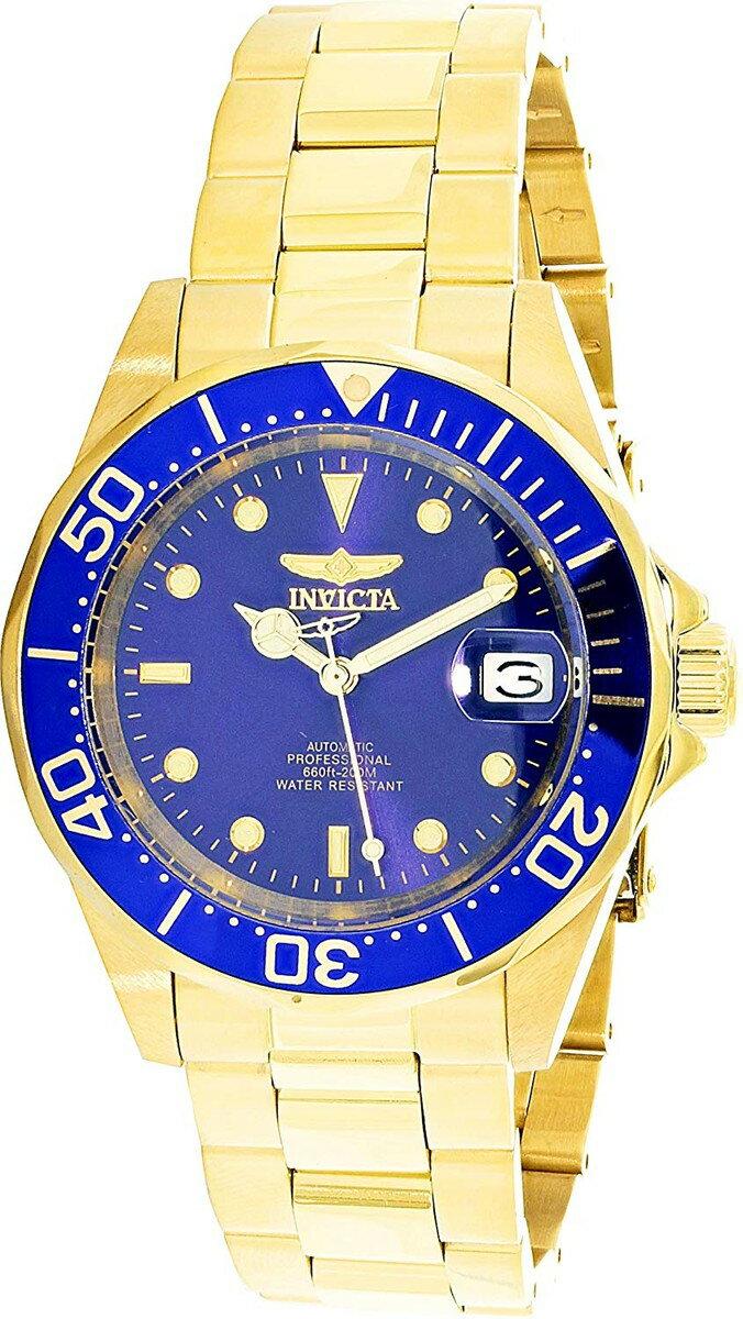 インヴィクタ インビクタ プロダイバー 腕時計 メンズ Men's Gold Tone Stainless Steel Pro Diver Blue Dial Automaticインヴィクタ インビクタ プロダイバー 腕時計 メンズ