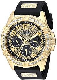 ゲス GUESS 腕時計 メンズ GUESS Comfortable Gold-Tone Black Stain Resistant Silicone Watch with Crystal Embellished Day, Date + 24 Hour Military/Int'l Time. Color: Black (Model: U1132G1)ゲス GUESS 腕時計 メンズ