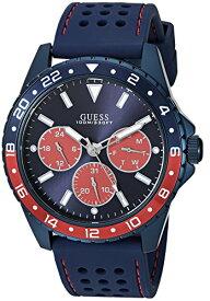 ゲス GUESS 腕時計 メンズ GUESS Men's Stainless Steel Texture Silicone Watch, Color: Blue/Red (Model: U1108G1)ゲス GUESS 腕時計 メンズ