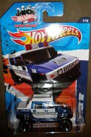 ホットウィール マテル ミニカー ホットウイール 【送料無料】Mattel 2011 HOT Wheels HW Main Street 1/10 Blue and White EL Segundo Police Hummer H2 161/244ホットウィール マテル ミニカー ホットウイール